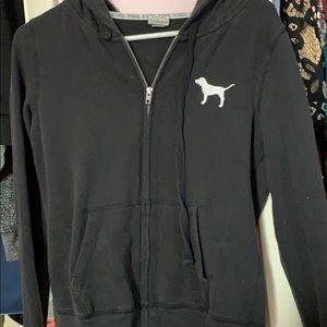 Black Victoria Secret PINK Zip up Hoodie
